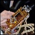 Lanyard cadena de oro de lujo de bling del diamante cristalino de tpu para samsung galaxy s6 s7 edge s3 s4 s5 nota 4 3 2 5 para iphone 4 5 6 s PLUS