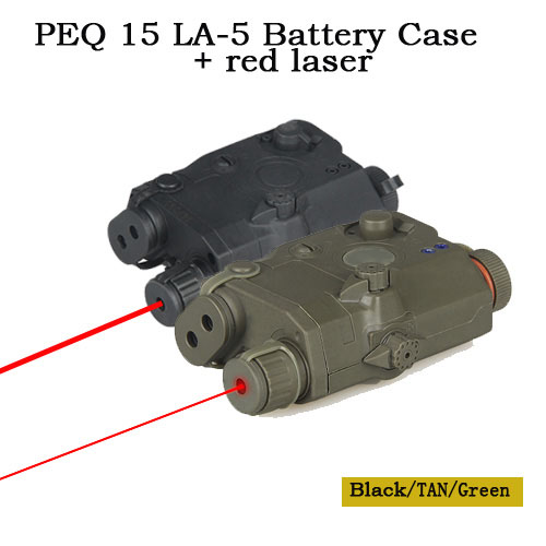Tactical PEQ 15 LA-5 Battery Case + Red Laser Laser Sight Pointer Aimer For Hunting Shooting OS20-0025