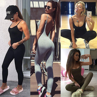 Casual Women Skinny Fitness Leggings Pants Sleeveless O-Neck Jumpsuit Clothes with 3 Colors