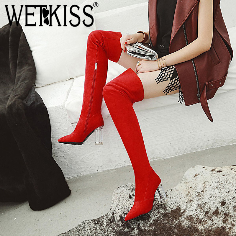 все цены на WETKISS Winter Leopard Print Women Boots Pointed Toe Footwear Over The Knee Lady Boot Transparent Unusual High Heels Shoes Woman
