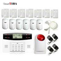 SmartYIBA GSM SIM Alarm Panel Wireless Infrared Detector PIR Door Gap Sensor Loudly Strobe Siren Auto