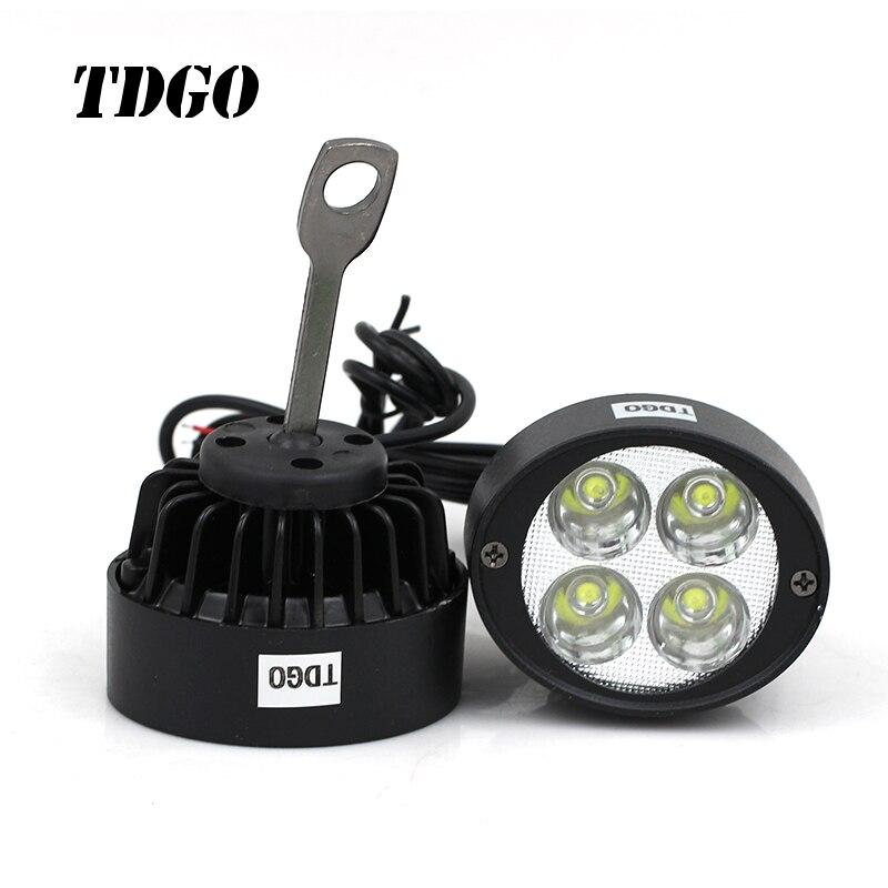 TDGO 2 pcs Led Moto Phare Ampoules Led 12-85 v Lampe Scooter Moto Accessoires Brouillard Lumières Lampe D'assistance rétroviseur Miroir Lumière
