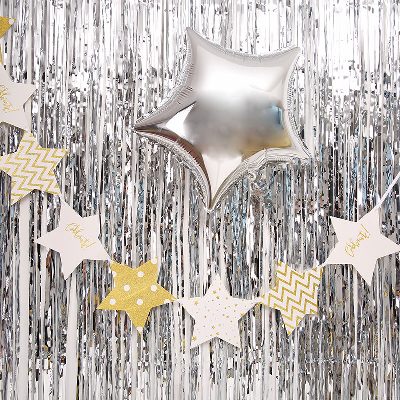 Birthday Background Wall Decoration Balloons Tassel Curtains Rain Silk Curtain Decorative Wedding Party Supplies 7A0331
