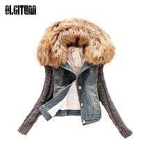 Осень и Зима отверстия Тонкий с мехом верхняя одежда пальто Короткие Джинсы для женщин куртка Для женщин Основные джинсовые женские куртки для женщин JK279