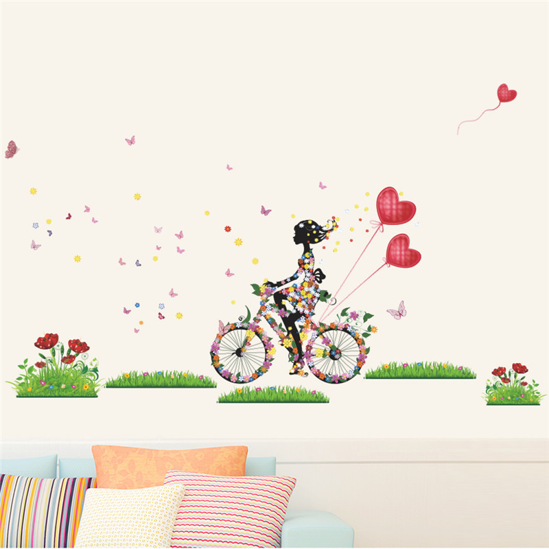 Fairies Girl Cycling In The Garden Wall Sticker For Kids