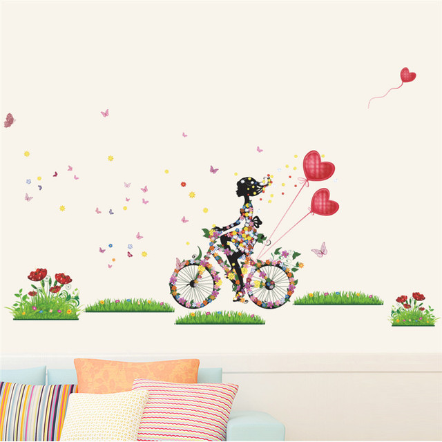 Fairies Girl Cycling In The Garden Wall Sticker For Kids Rooms Butterfly Flowers Heart Balloon Art