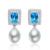 5.8ct Emerald Cut Topázio Azul 925 Prata Esterlina Cz Brincos de Pérolas de Água Doce Elegante Charme s925 Brinco Caixa de Jóias Livre