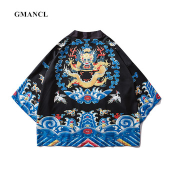 GMANCL Men Chinese style dragon Cardigan Kimono Jackets Streetwear Summer Sunscreen Japanese Style Male coat Outerwear