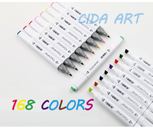 [49%More ink]30/60/72/162  pieces Art Sketch Marker Pen Fine/Broad Double tips For Artist Manga Graphic With Storage Bag