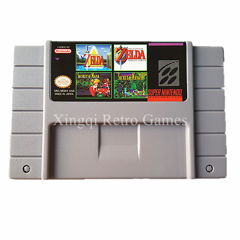 Super Nintendo SFC SNES MS04 4 in 1 Video Game Cartridge Console Card US Version English