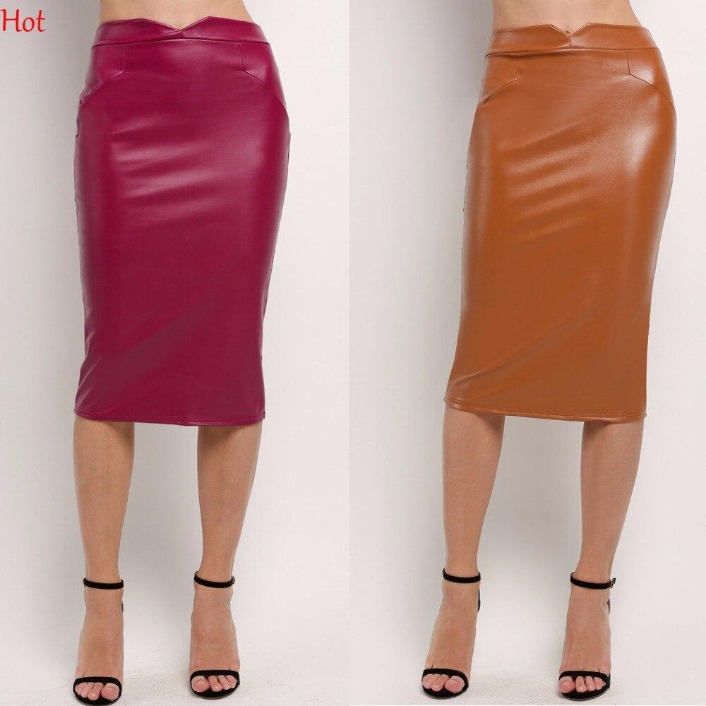 Top 2017 Women Soft Leather Skirt High Waist Slim Hip Pencil ...