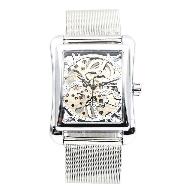 רטרו Mens שלד יד רוח מכאני שעונים שעוני יד לנשים שעונים מלבן שעון יוקרה להקת נירוסטה