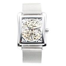 Retro mężczyzna ręka wiatr mechaniczne zegarka kobiet zegarki na rękę szkielet prostokąt zegarki pasek ze stali nierdzewnej luksusowy zegarek