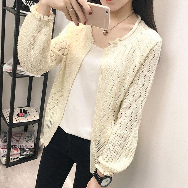 Women Summer New Korean Style Knitwear 2018 Autumn Loose Cardigan Plain Hollow  Fashion One Size Girls 0fa1fcce45e9