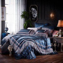 Blue Silk Satin Bed sheet Bedding Set Luxury Beddingset Bedlinen Duvet Cover Queen King size Bed set parure de lit ropa de cama(China)