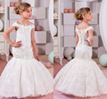 Mermaid Lace Flower Girl Dresses for Weddings 2017 ivory Kids Evening Dress Holy Communion Dresses For Girls Pageant Gowns