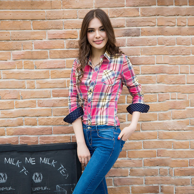 Autumn 2015 new Plaid Shirt women long sleeves long casual fashion good quality school blouse collar buttons 100% cotton