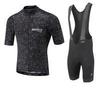 2017 Morvelo Classic Summer Short Sleeve Cycling Jersey Cycling Set Full Black Bib Short With 4D