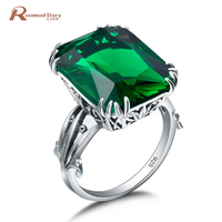 2017 New Popular Party Vintage Finger Rings Emerald Stone 925 Sterling Silver Ring For Women Gifts