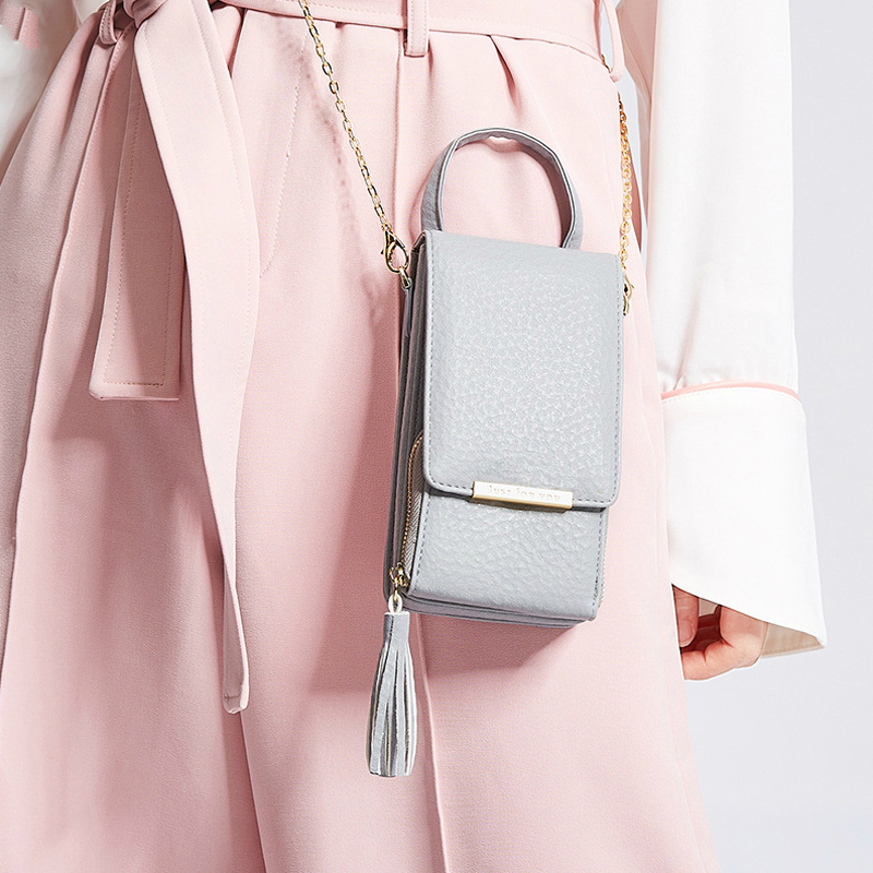 XIN-MUM 2018 New Ms. Shoulder Bag Messenger Chain Mobile Phone Bag Fashion Tassel Mobile Purse Bag Phone Wallet shoulder bag