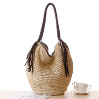 2017 Summer Beach Bag Women Manual Woven Knitted Tassel Straw Shoulder Bags Designer High Quality Casual