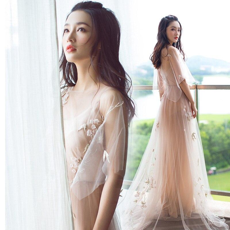 Élégant Slash cou Floral longue robe étoile même Style femmes Sexy dentelle sans manches Spaghetti sangle Catwalk hôte traînant robes