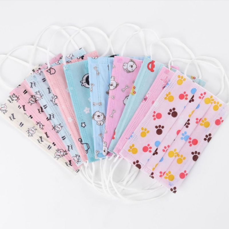 10Pcs/Pack Children Kids Disposable Anti Dust Mouth Mask Cartoon Fish Animal Car Printed 3 Layers Non-Woven Medical Earloop