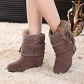 De las mujeres Del Tobillo Botas de Plataforma de la Cuña de Piel de Conejo Nueva Moda A Prueba de agua Nieve Del Invierno Caliente Patea Los Zapatos Para Mujer de Bajo Valor