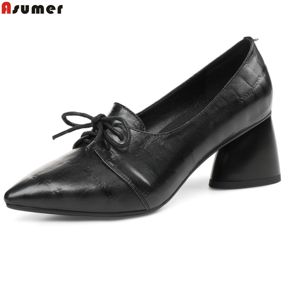 ASUMER army green fashion spring autumn ladies pumps pointed toe lace up drees shoes women genuine leather high heels shoes new 2017 spring summer women shoes pointed toe high quality brand fashion womens flats ladies plus size 41 sweet flock t179