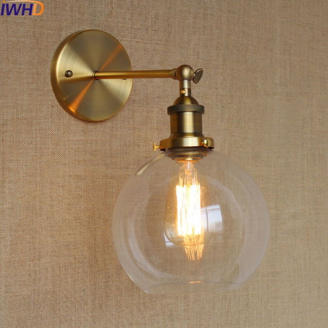 IWHD Glass Ball Vintage Wall Lamp Industral Retro Iron Wandlamp ...