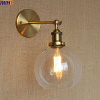 IWHD Glass Ball Vintage Wall Lamp Industral Retro Iron Wandlamp Swing Arm Wall Sconce Bathroom Fixture Led Wall Light Up Down