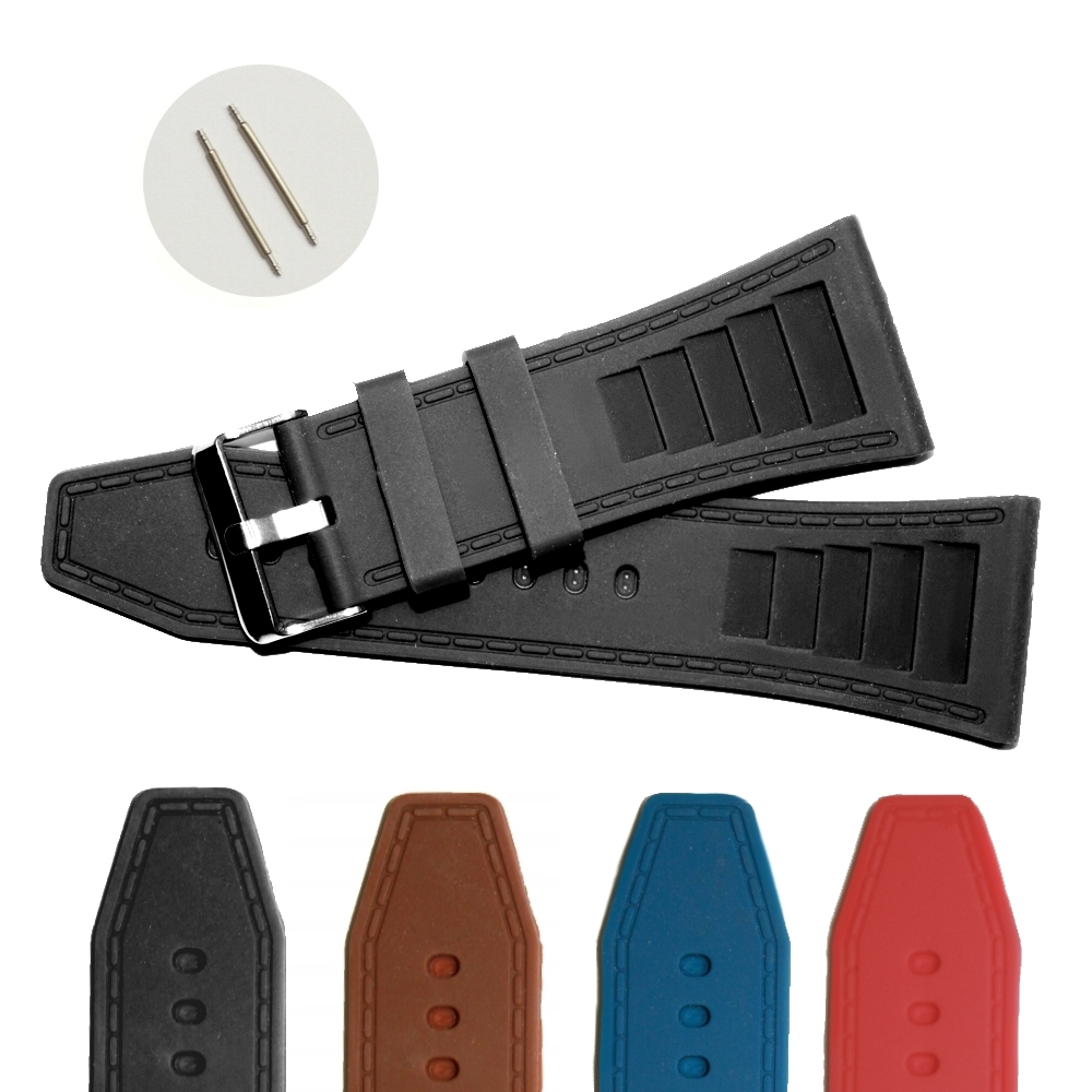 34mm Black Silicone Jelly Rubber Men Unisex Watch Band