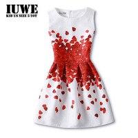 Suknie dla Dziewczyn Suknie Bawełniane 11 Lat 2017 Lato Bez Rękawów Red Love Biały O-Neck Kolan Linii Wakacje Dziewcząt sukienka
