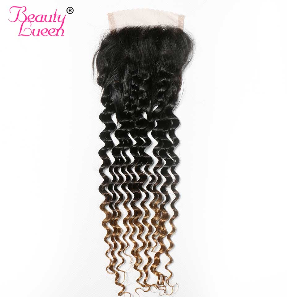 Ombre Brazilian Hair Deep Wave Closure T1B 4 27 Ombre Human Hair Weave Exthension Three Tone
