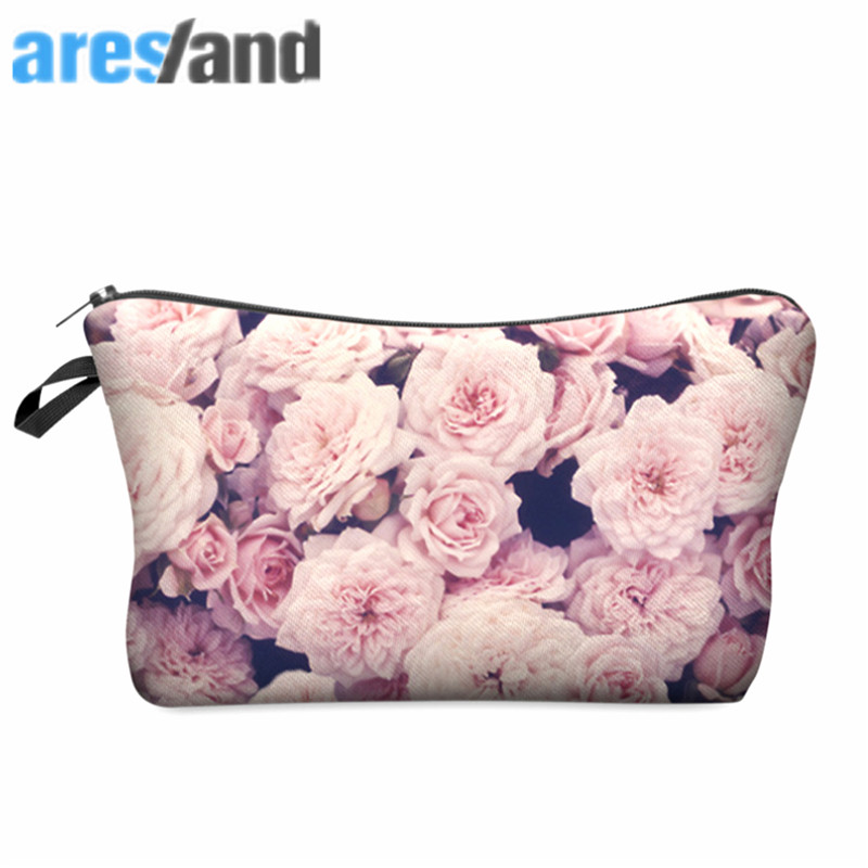 ARESLAND Fashion Ladies women Travel Cosmetic Bag Rose Printing Polyester Cosmetic Bag Hand-Held Travel Make-Up Storage Bag travel tale fashion cat and dog capsule pet cartoon bag hand held portable package backpack