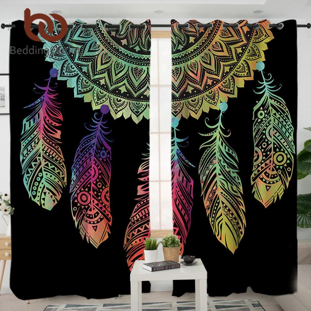 BeddingOutlet Dreamcatcher cortinas para sala de estar dormitorio colorido apagón cortina ventana tratamiento cortinas casa decoración 1/2 piezas