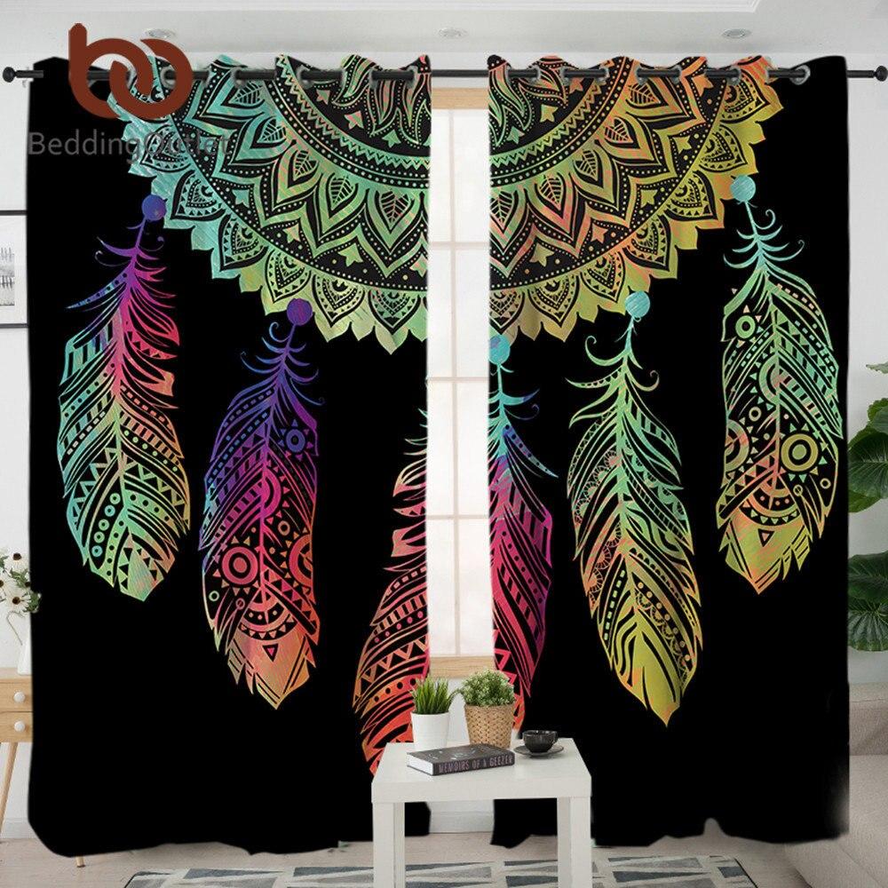 BeddingOutlet Dreamcatcher cortinas para sala dormitorio colorido cortina del apagón tratamiento de ventana decoración 1/2 piezas