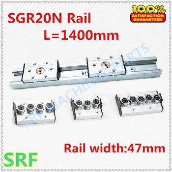 47mm width Rectangle Linear Rail SGR20N L=1400mm Internal Dual-Shaft Linear Roller Guide Rail with SGB20N wheel slide block