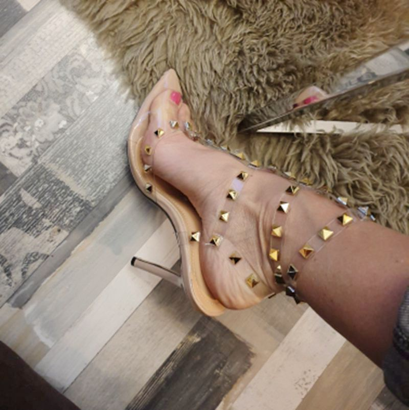 Women's party shoes transparent rivet pointed toe thin heels fashion sexy heeled sandals ladies apricot platform hollow pumps 40