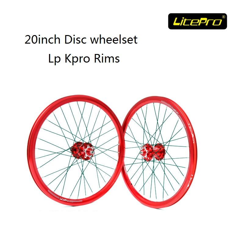 цена на Litepro Bike Wheel set Disc Brake 20inch 32H 406 Wheelset KPRO-FUN Hub Road Bicycle Folding Bike Refiting Wheels Accessories