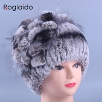 Raglaido Fur Winter Hats for Women Beanies Real Rex Rabbit +Fox fur decoration floral hats adults fashion Caps Elastic LQ11143