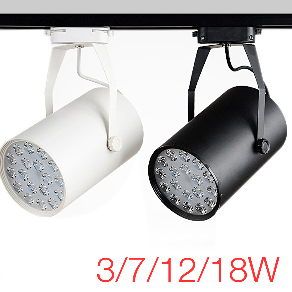 Commercial Retail Light Fixtures: High Power LED Track Light 3W / 7W / 12W / 18W Rail
