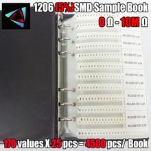 Nowy 1206 SMD rezystor próbka książka 5% tolerancja 170valuesx25pcs = 4250 sztuk zestaw rezystorów 0R ~ 10M 0R 10M