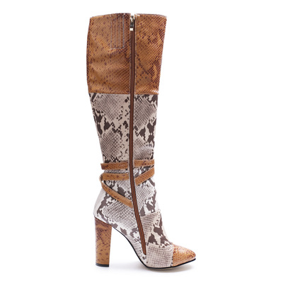 Winter Fashion Snake Skin Round Toe Side Zipper Long Boots Women Knee High Buckle Decoration High Square Heel Brown Booties beango europe retro fashion do old ladies knee high boots round toe square heels buckle side zipper women motorcycle boots