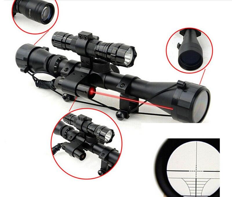 ФОТО air soft Free shipping one set  Optical Sight Riflescope  + Red Laser Sight + Flashlight 4.2V Black Flashlight