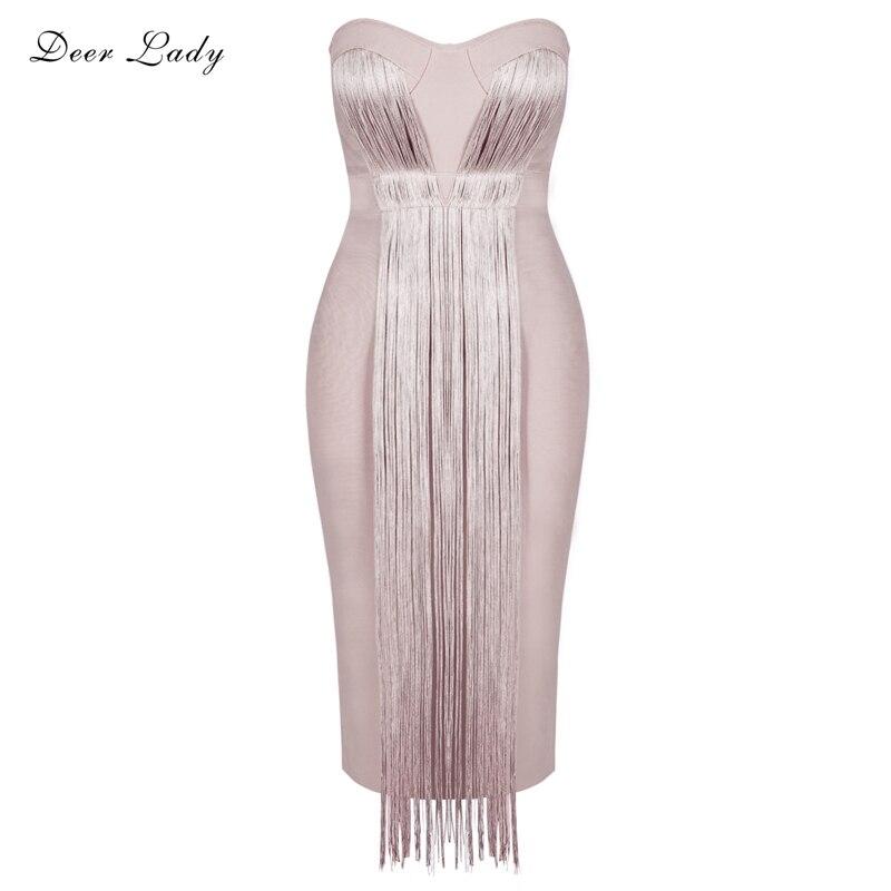 Deer Lady Summer Bandage Dress Rayon 2019 Celebrity Party Dresses Elegant Bandage Dresses Strapless Bodycon Sexy