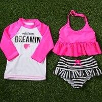 새로운 여자 수영복 3 개 정장 비키니 세트 + 셔츠 아이 수영복 수영복 해변 1-12 세 S75901
