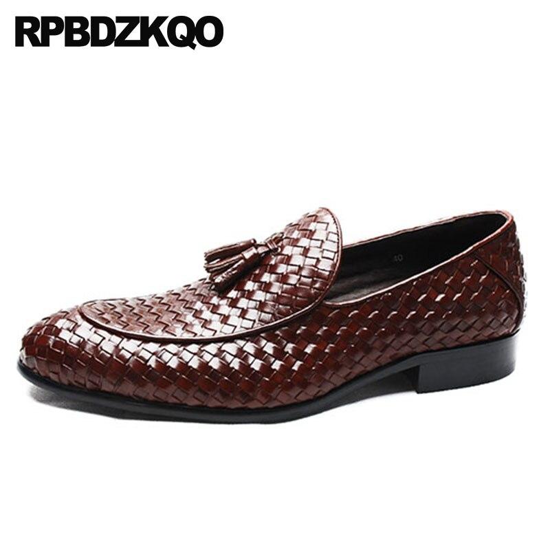 Couro Dedo Apontado Sapatos Dos Homens Loafers Borla Vinho Estilo Qualidade Preto De Borgonha Alta Luxo Novo vermelho Britânico Vestido Trançado Tecido Negócios Preto vz8UH