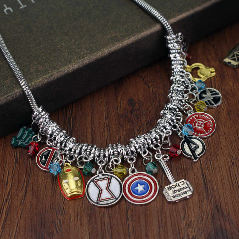 dongsheng Marvel Avengers Captain America Iron Man Mask Thor's Hammer Eagle Deadpool Hulk Crystal Beads Choker Necklace -30