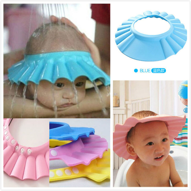 ad703f4f15b Soft Adjustable Baby Shower Cap Protect Children Kid Shampoo Bath Wash Hair  Shield Hat Waterproof Prevent